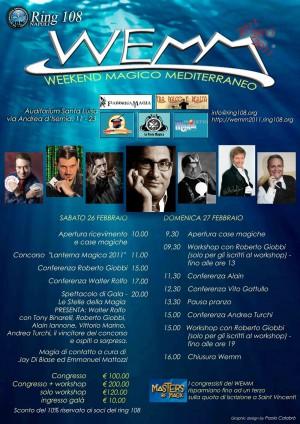 Locandina del WEMM (week end magico mediterraneo). Alain in cartellone insieme agli altri pretigiatori del gala serale